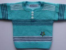 Babypulli Gr. 74/80 türkis, weiß, blau gestreift aus Baumwolle handgestrickt