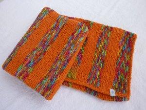 Babydecke 81 x 81 cm flauschig weich Kinderwagendecke Krabbeldecke Decke handgestrickt orange und bunt gestreift