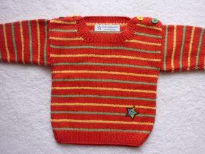Babypulli Gr. 74/80 rot/grün/gelb gestreift aus Baumwolle handgestrickt