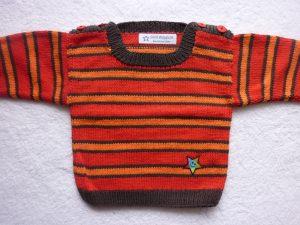 Babypulli Gr. 74/80 rot/braun/orange gestreift aus Baumwolle handgestrickt