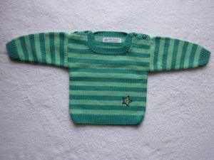 Babypulli Gr. 74/80 türkis gestreift aus Baumwolle handgestrickt