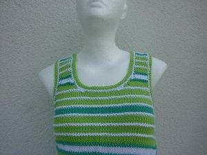 Sommertop Gr. 36 hellgrün smaragdgrün weiß Bio-Baumwolle handgestrickt