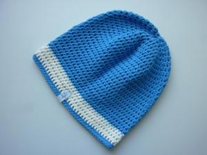 Häkelmütze blau wollweiß Baumwolle