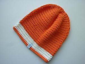 Häkelmütze orange wollweiß Baumwolle