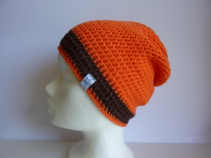 Häkelmütze orange braun Baumwolle