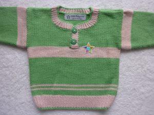 Babypulli Gr. 74/80 grün blassrosa aus Baumwolle handgestrickt