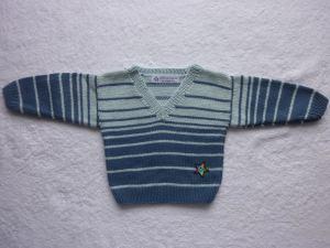 Babypulli Gr. 74/80 blau gestreift aus Baumwolle handgestrickt V3