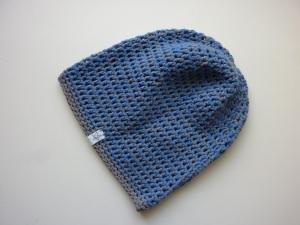 Häkelmütze grau blau Baumwolle