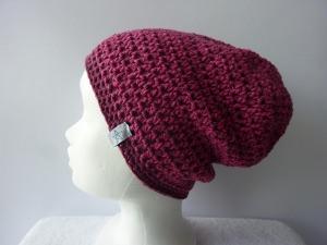 Häkelmütze dunkelrot pink Baumwolle