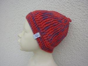 Babymütze Gr. 41 - 46 Rot Blau aus Baumwolle
