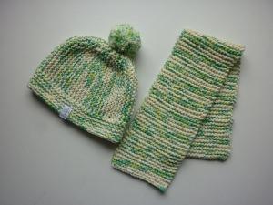 Babymütze Gr. 41 - 46 + Schal aus Baumwolle