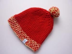 Strickmütze Rot Gelb mit Bommel aus Schurwolle