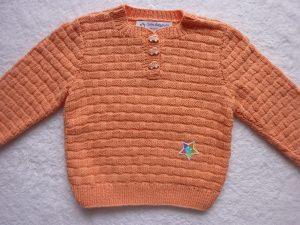 Kinderpullover Gr. 86/92 apricot Baumwolle