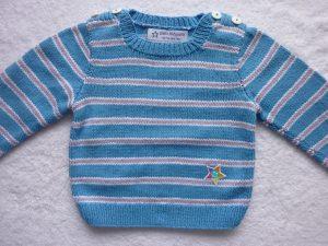 Kinderpullover Gr. 86/92 blau weiß flieder gestreift Baumwolle