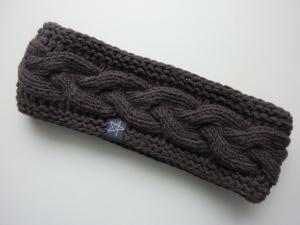 gefüttertes Stirnband in schieferbraun aus Baumwolle handgestrickt