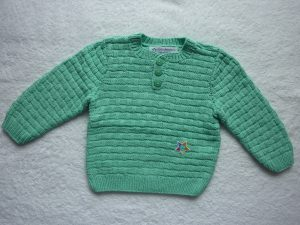 Kinderpullover Gr. 86/92 mintgrün Baumwolle