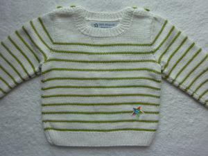 Kinderpullover Gr. 86/92 weiß hellgrün gestreift aus Baumwolle handgestrickt
