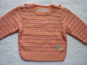 Kinderpullover Gr. 86/92 apricot weiß rot gestreift aus Baumwolle handgestrickt