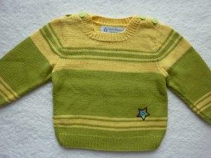 Kinderpullover Gr. 86/92 grün gelb aus Baumwolle handgestrickt
