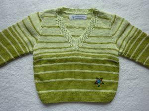 Kinderpullover Gr. 86/92 blassgrün grün gestreift aus Baumwolle handgestrickt
