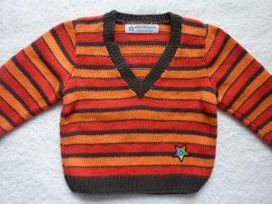 Kinderpullover Gr. 86/92 rot orange braun gestreift aus Baumwolle handgestrickt