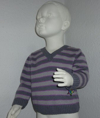 Kinderpullover Gr. 86/92 grau flieder gestreift aus Baumwolle handgestrickt