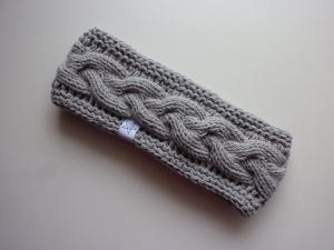 gefüttertes Stirnband in hellgrau aus Baumwolle handgestrickt