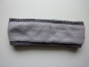 gefüttertes Stirnband in grau aus Baumwolle handgestrickt