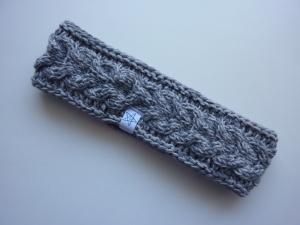 gefüttertes schmales Stirnband in hellgrau/grau aus Baumwolle handgestrickt