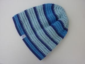 gefütterte Häkelmütze blau gestreift aus Baumwolle