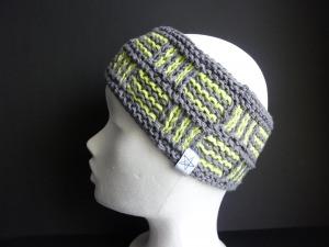 Stirnband grau hellgrün aus Baumwolle handgestrickt UNIKAT