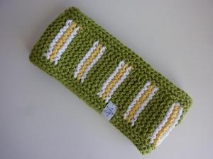 Stirnband grün weiß hellgelb aus Baumwolle handgestrickt