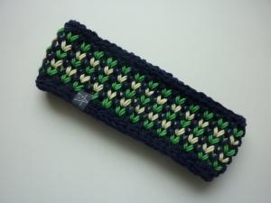 Stirnband in dunkelblau grün gelb aus Schurwolle handgestrickt
