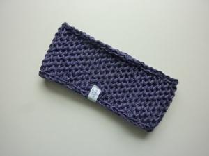 Stirnband in violett anthrazit aus Schurwolle handgestrickt