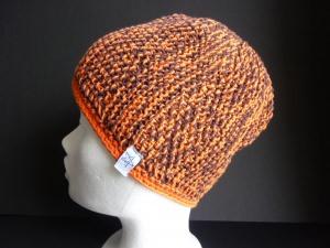 Strickmütze Braun Orange aus Baumwolle handgestrickt