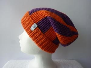 Strickmütze Orange und Lila aus Baumwolle handgestrickt