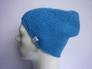 Strickmütze in Blau aus Baumwolle handgestrickt