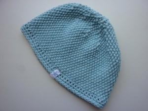 Strickmütze in Hellblau aus Baumwolle handgestrickt