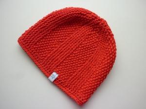 Strickmütze in Rot aus Baumwolle handgestrickt
