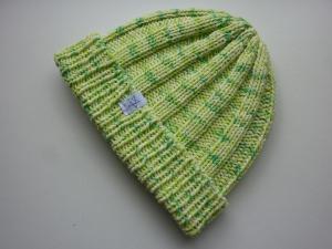 Strickmütze Hellgrün gemustert aus Baumwolle handgestrickt