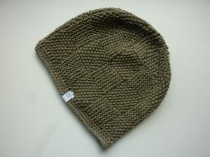 Strickmütze Khaki aus Baumwolle handgestrickt