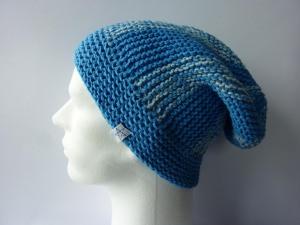 Strickmütze Blau Hellblau aus Baumwolle handgestrickt