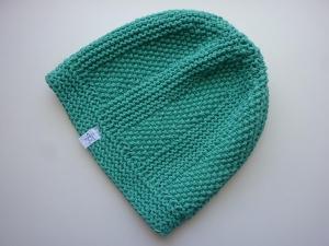 Strickmütze grüntürkis aus Baumwolle handgestrickt