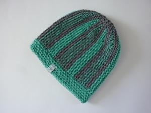 Strickmütze grüntürkis und grau aus Baumwolle handgestrickt