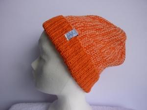 Strickmütze Orange Lachs mit Umschlag aus Baumwolle handgestrickt