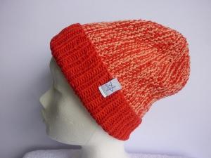 Strickmütze Rot Lachs mit Umschlag aus Baumwolle handgestrickt