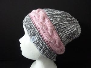 Strickmütze grau weiß und rosa aus Baumwolle handgestrickt