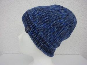 Strickmütze blau aus Schurwolle handgestrickt