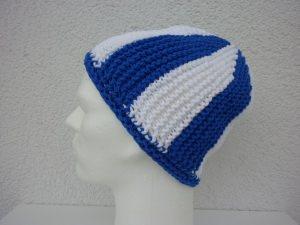 Strickmütze Fußball-Fan blau weiß
