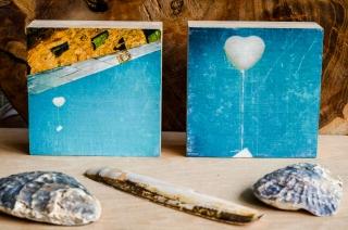 Herz Luftballon Hochzeit 2er Set Holzbild Holzdruck Quadrat 8,5x8,5 cm Holzbild im Shabby-Stil Photo on Wood gifts gift for her handmade